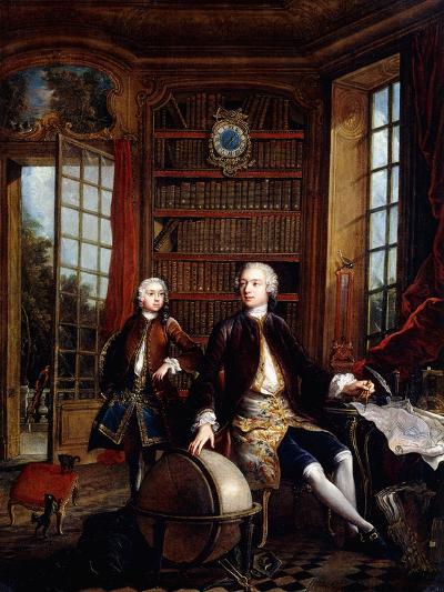 Portrait of the Artist's Son with His Teacher-Jacques De Lajoue-Giclee Print
