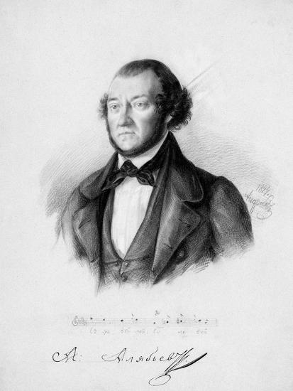 Portrait of the Composer Alexander Aleksandrovich Alyabyev (1787-185), 1844-Pavel Andreevich Andreev-Giclee Print