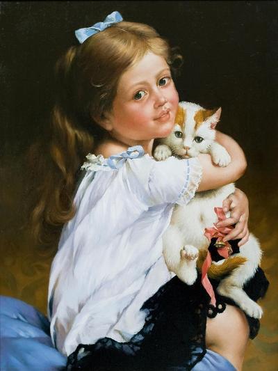 Portrait Of The Girl With A Cat-balaikin2009-Art Print