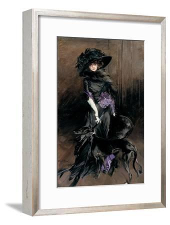Portrait of the Marchesa Luisa Casati with a Greyhound, 1908-Giovanni Boldini-Framed Giclee Print