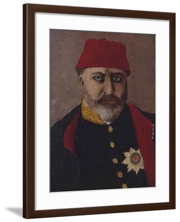 Portrait of the Ottoman Sultan, Abdel Aziz (1861-76)- Turkish School-Framed Giclee Print