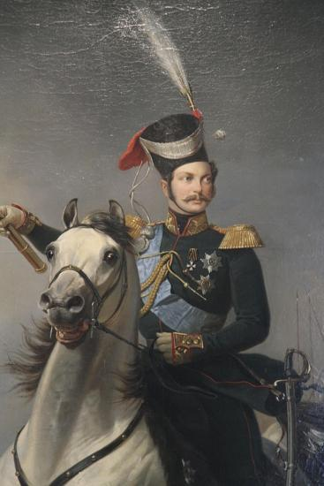 Portrait of the Tsesarevich Alexander Nikolaevich on Horseback, 1850S-Egor Botman-Giclee Print