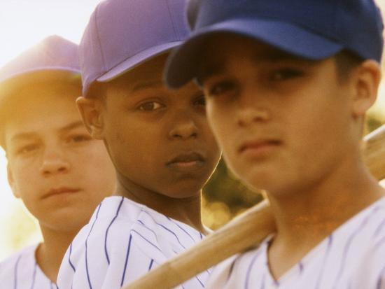 Portrait of Three Boys in Full Baseball Uniforms--Photographic Print