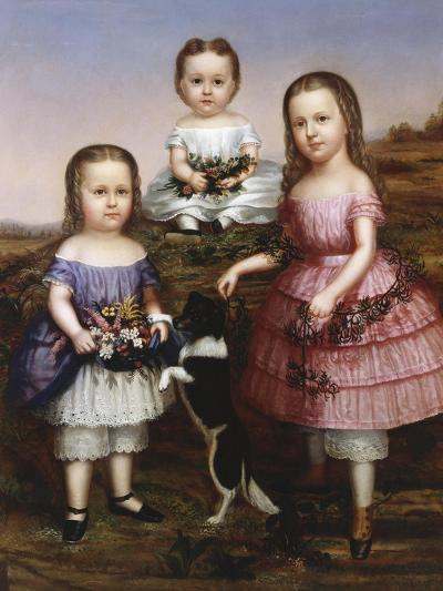 Portrait of Three Children, 19th Century--Giclee Print