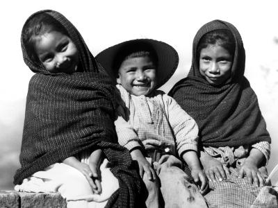 Portrait of Three Smiling Children, Sitting Together, Mexico-H^ Armstrong Roberts-Photographic Print