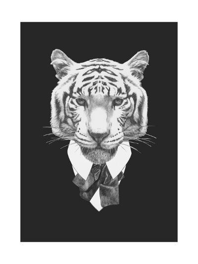 Portrait of Tiger in Suit. Hand Drawn Illustration.-victoria_novak-Art Print