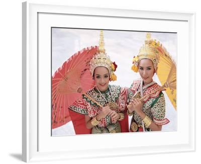 Portrait of Two Dancers in Traditional Thai Classical Dance Costume, Thailand-Gavin Hellier-Framed Photographic Print