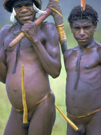 Portrait of Two Dani Tribesmen Wearing Penis Gourds, Irian Jaya, New Guinea, Indonesia-Claire Leimbach-Photographic Print
