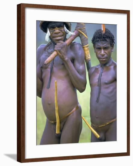 Portrait of Two Dani Tribesmen Wearing Penis Gourds, Irian Jaya, New Guinea, Indonesia-Claire Leimbach-Framed Photographic Print