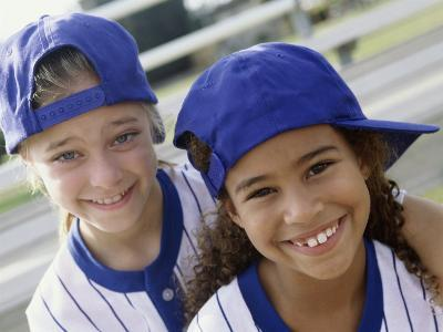 Portrait of Two Girls in Baseball Uniforms--Photographic Print
