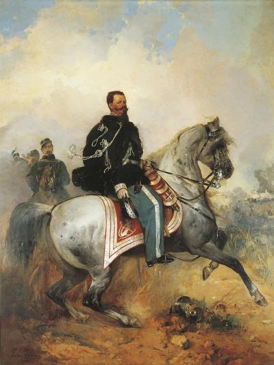 Portrait of Victor Emmanuel II on Horseback, 1820-1878, by Girolamo Induno, 1825-1890--Giclee Print