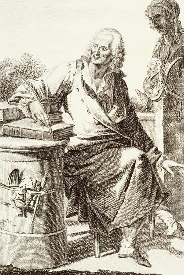 Portrait of Voltaire, Pseudonym of Francois-Marie Arouet--Giclee Print