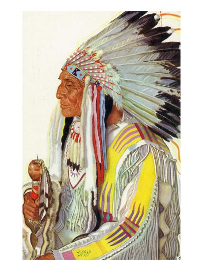 Portrait of Wades-In-The-Water, a Blackfeet Chieftain-Lantern Press-Art Print