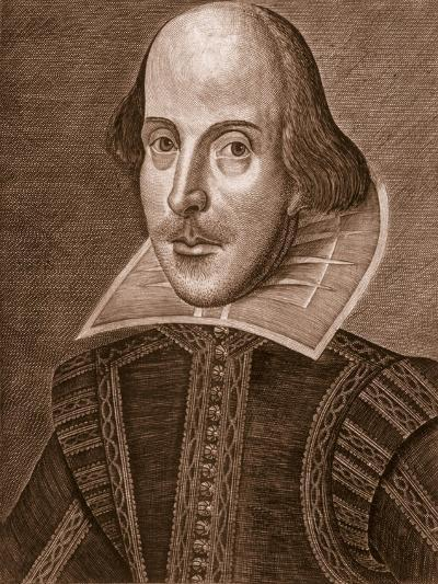 Portrait of William Shakespeare, Engraved by Martin Droeshout (C.1560-C.1642), 1623--Giclee Print