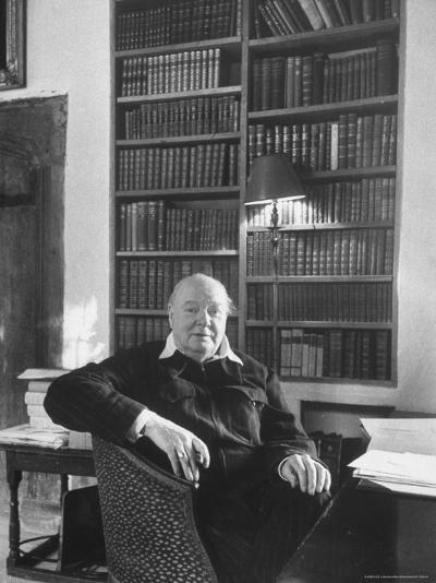 Portrait of Winston Churchill in His Study at Chartwell-Alfred Eisenstaedt-Premium Photographic Print