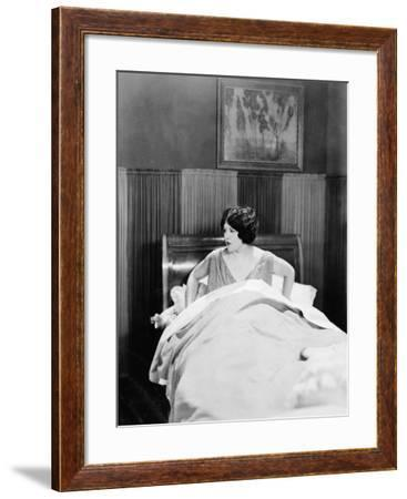 Portrait of Woman in Bed--Framed Photo