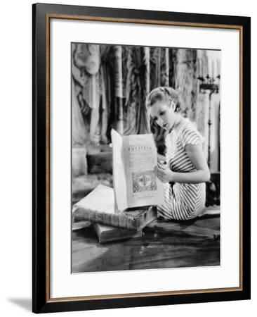 Portrait of Woman Reading Catholic Text--Framed Photo