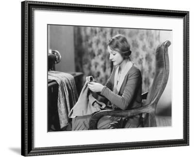 Portrait of Woman Sewing--Framed Photo