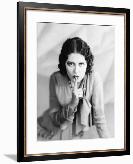 Portrait of Woman Shushing--Framed Photo