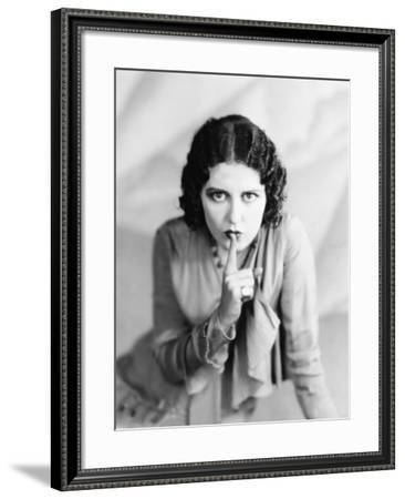 Portrait of Woman Shushing--Framed Photo