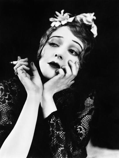 Portrait of Woman Smoking--Photo