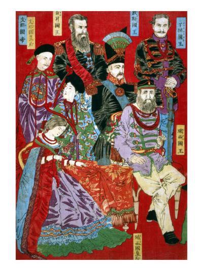 Portrait of World Sovereigns, Japanese Wood-Cut Print-Lantern Press-Art Print