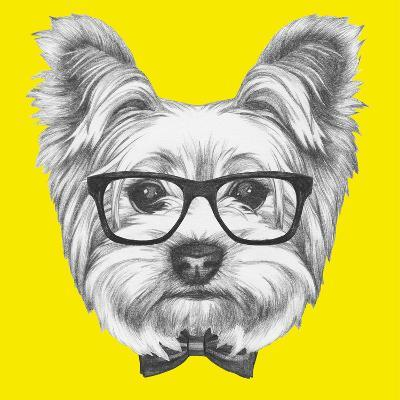Portrait of Yorkshire Terrier Dog with Glasses and Bow Tie. Hand Drawn Illustration.-victoria_novak-Art Print
