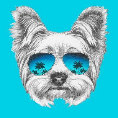 Portrait Of Yorkshire Terrier Dog With Mirror Sunglasses Hand Drawn