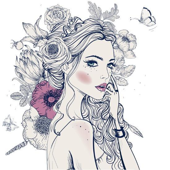 Portrait Of Young Beautiful Woman With Flowers Art Print By Elena Barenbaum Art Com