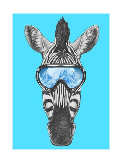 Portrait of Zebra with Ski Goggles. Hand Drawn Illustration.-victoria_novak-Art Print