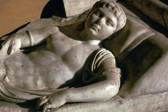 Portrait on the marble lid of a Roman sarcophagus, 1st century BC-Unknown-Giclee Print