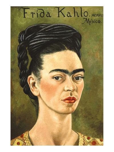 Portrait with Gold Dress-Frida Kahlo-Art Print
