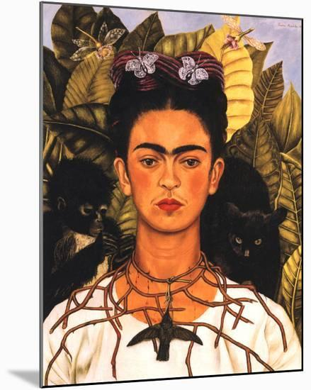 Portrait with Necklace-Frida Kahlo-Mounted Print