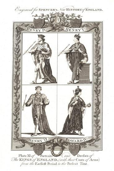 Portraits and Dresses of the Kings of England with Coats of Arms, 1784--Giclee Print
