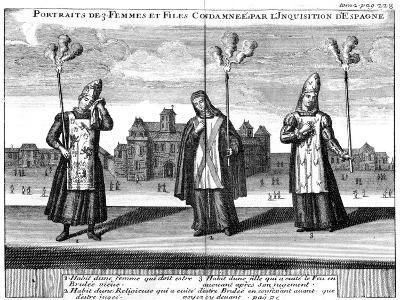 Portraits of 3 Women and Girls Condemned by the Spanish Inquisition, 1759--Giclee Print