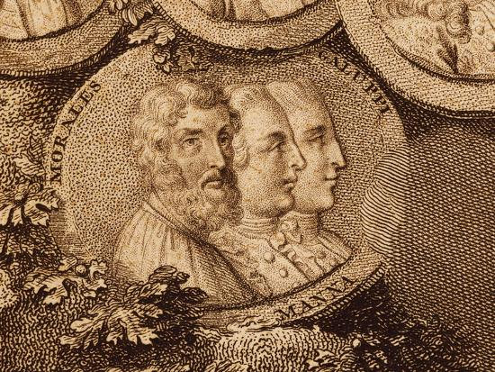 Portraits of Musicians Cristobal De Morales, Ruggero Manna and Baldassarre Galuppi--Giclee Print