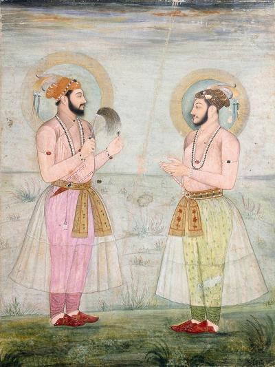 Portraits of Prince Dara Shikoh and Prince Sulaiman Shikoh Nimbate, C.1665 (Gouache on Parchment)--Giclee Print