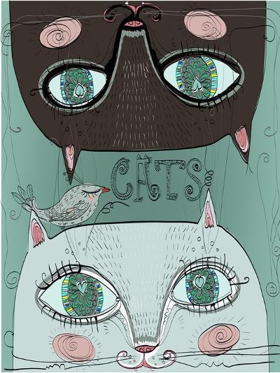 Portraits of Two Cute Cats-Elena Barenbaum-Art Print