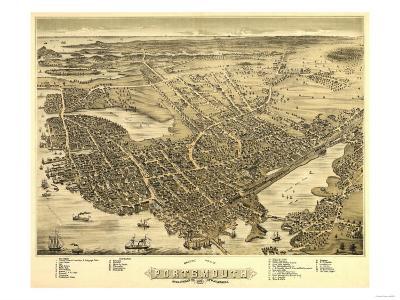 Portsmouth, New Hampshire - Panoramic Map-Lantern Press-Art Print