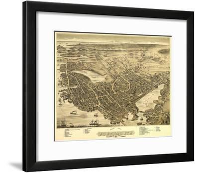Portsmouth, New Hampshire - Panoramic Map-Lantern Press-Framed Art Print