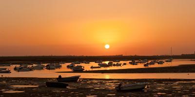 Portugal, Algarve, Ria Formosa Coast, Fishing Boats, Sunset-Chris Seba-Photographic Print