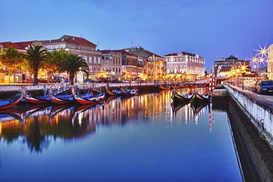 Portugal, Aveiro, Moliceiro Boats Along the Main Canal of Aveiro-Terry Eggers-Photographic Print