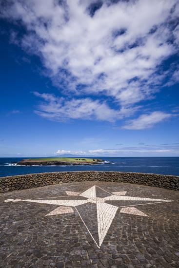 Portugal, Azores, Sao Jorge Island, Topo. Ponta do Topo, compass rose mosaic-Walter Bibikow-Photographic Print