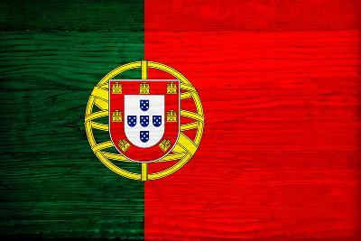 Portugal Flag Design with Wood Patterning - Flags of the World Series-Philippe Hugonnard-Art Print