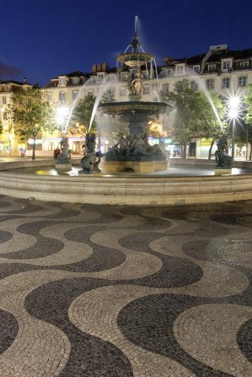 Portugal, Lisbon. Rossio Square at Night. Bronze Mermaid Fountain-Emily Wilson-Photographic Print