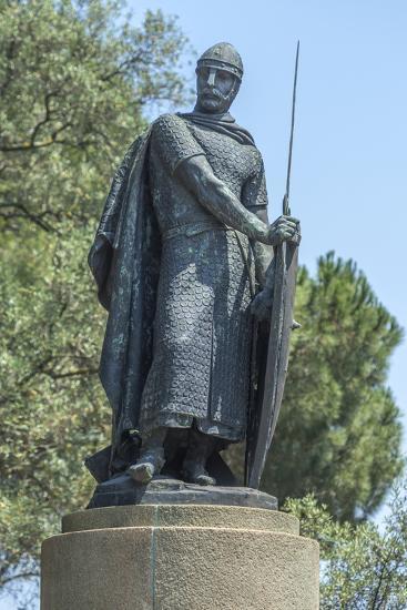 Portugal, Lisbon, Statue of Afonso Henriques at St. George Castle-Jim Engelbrecht-Photographic Print