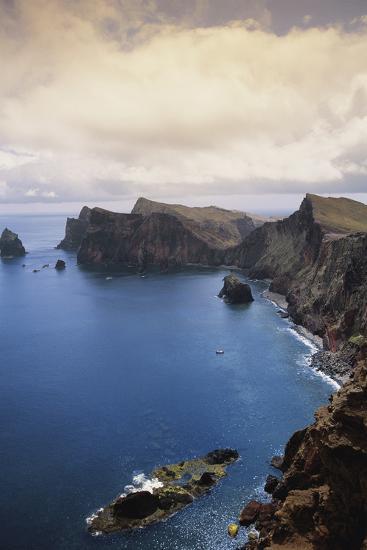 Portugal, Madeira, Ponta De Sao Lourenco. Cliff Along Sea-Walter Bibikow-Photographic Print
