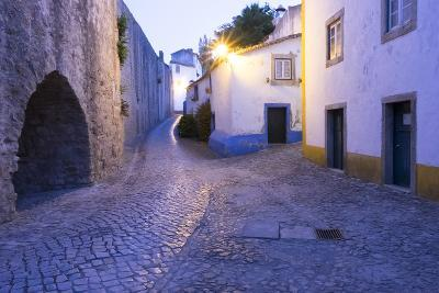 Portugal, Obidos. Leira District. Cobblestone Walkways, at Sunset-Emily Wilson-Photographic Print