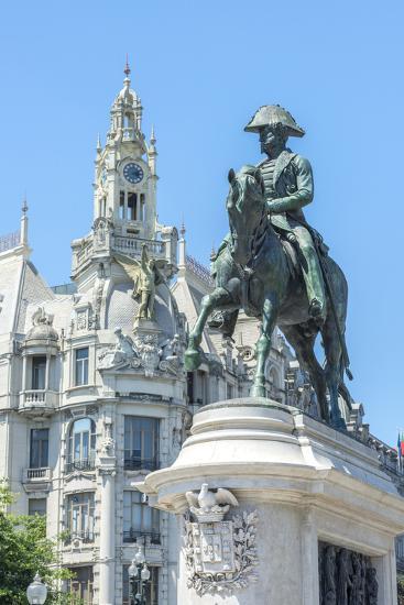 Portugal, Oporto, Liberty Square, Statue of King Pedro Iv-Jim Engelbrecht-Photographic Print