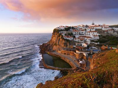 Portugal, Sintra, Azehas Do Mar, Overview of Town at Dusk-Shaun Egan-Photographic Print